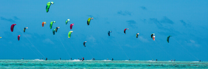 People practicing kitesurfing on a beautiful summer day - Caribbean - Archipelago of Los Roques - Venezuela Wall mural