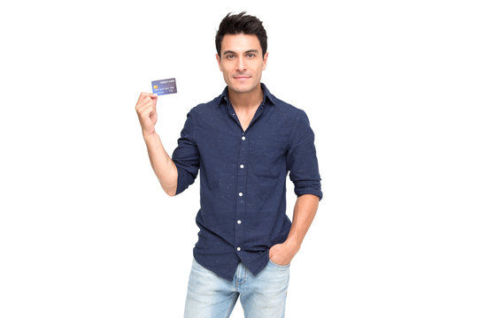 Young handsome Caucasian man smiling, showing, presenting credit card for making payment or paying online business, Pay a merchant or as a cash advance for goods, Cardholder or A person who owns a car