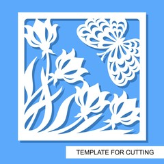 Square decorative panel with flowers tulips and butterfly. White object on a blue background. Template for laser cutting, wood carving, paper cut or printing. Vector illustration.