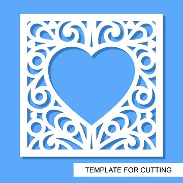 Square decorative panel with heart. White objects on a blue background. Template for laser cutting, wood carving, paper cut or printing. Vector illustration.