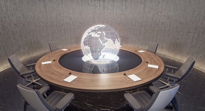 Modern oval meeting room with planet Earth globe 3D Rendering