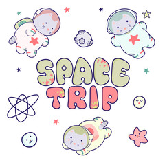 Kawaii cute cats astronauts flying in space, among the planets and the inscription lettering Space Trip