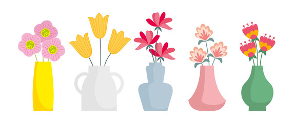 Set of colored vases with blooming flowers for decoration and interior. Vector illustration