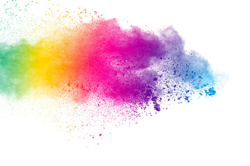 Colorful background of pastel powder.Color dust splash on white background.