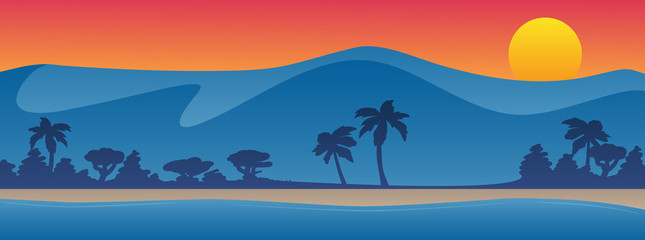 Mountains with beach shoreline summer scene background vector illustration