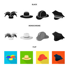 Isolated object of clothing and cap sign. Set of clothing and beret stock vector illustration.