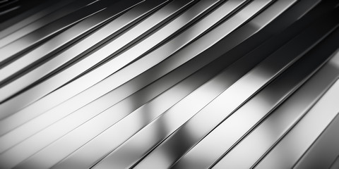 Elegant Luxury Metal smooth line background. Abstract metallic Stainless steel curve shapes. 3d render