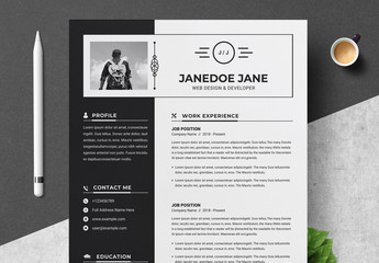 Resume and Cover Letter Layout with Black Sidebar