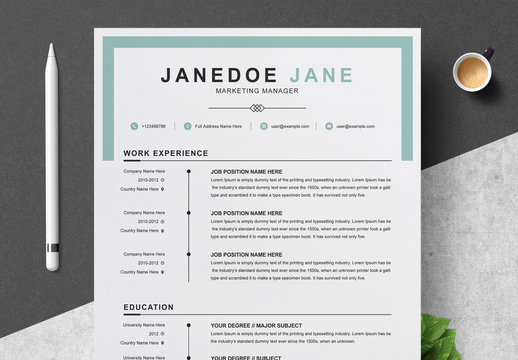 Resume and Cover Letter Layout with Light Blue Accents