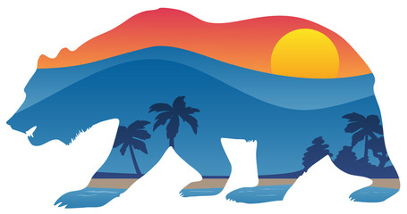 California bear with mountain shoreline summer scene overlay isolated vector illustration