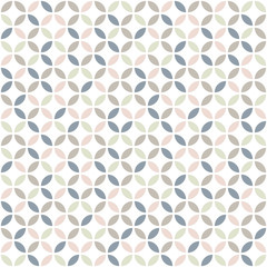 Geometric seamless pattern in pastel colors. Mid century design. Vector wallpaper.
