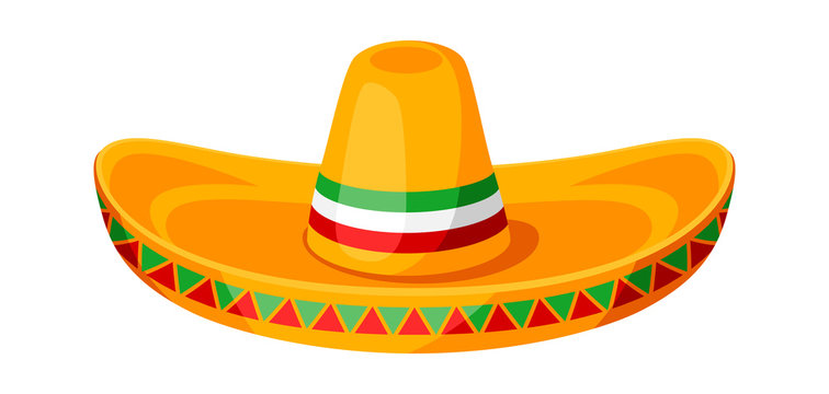 Mexican sombrero illustration of traditional hat.