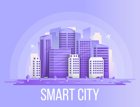 Creative vector illustration of smart city urban landscape isolated on transparent background. Art design social media communication internet network. Abstract concept buildings, skyscrapers element