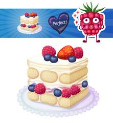 Tasty triple berry tiramisu cake icon on white background. Cartoon vector illustration with cute raspberry character