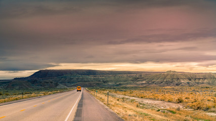 School bus in the middle of nowhere in Wyoming