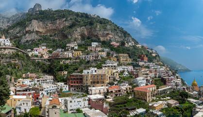 Panoramic view  of Positano town at  Amalfi Coast, Italy.