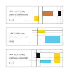 Web banner design template set consisting of abstract patterns made with rectangles and lines. Colorful and modern vector art.