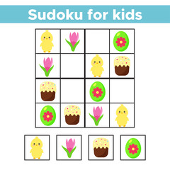 Sudoku for preschool kids. Educational game. Spring theme. Vector Easter eggs, cartoon chick, cake and flowers - crocus.