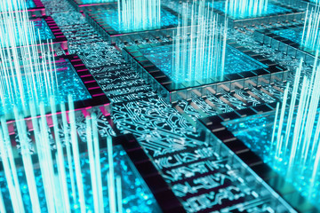 AI - artificial intelligence concept. Machine learning. Central Computer Processors on the circuit board with luminous tracks. Encoded data. Computer chip over circuit background, 3D illustration