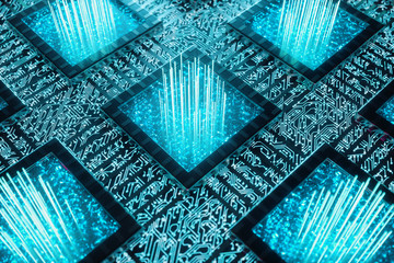 AI - artificial intelligence concept. Machine learning. Central Computer Processors on the circuit board with luminous tracks. Encoded data. Computer chip over circuit background, 3D illustration Wall mural