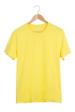 Blank t-shirt on hanger isolated on white background
