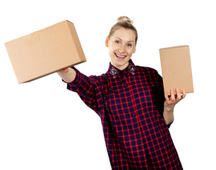 woman holding blank cardboard boxes in hands isolated on white background
