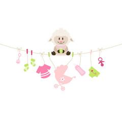 Schaf & Hängende Babyicons Mädchen Pink/Grün