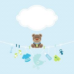 Teddy & Hängende Babyicons Junge Wolke Punkte Blau/Grün
