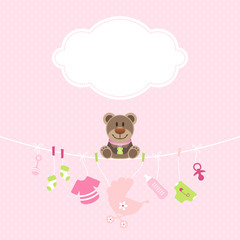 Teddy & Hängende Babyicons Mädchen Wolke Punkte Pink/Grün