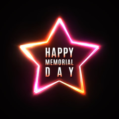 Happy Memorial Day greeting card on dark star background. USA national event banner. Memorial Day design in 80s neon style. Bright glowing logo. Star frame. Greeting Card. Color vector illustration.