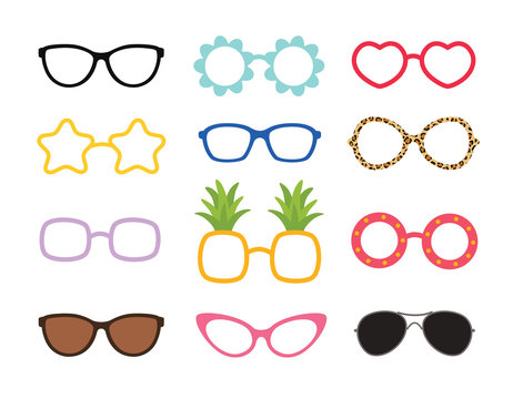 Set of real colorful style cute glasses. Party sunglasses icon set in flat style. Design templates.