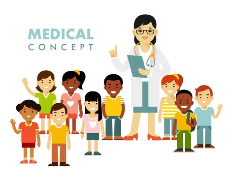 Pediatrician doctor concept. Young woman practitioner and happy children in flat style isolated on white background. Doctor and group of kids standing together. Consultation, medical diagnosis
