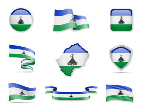 Lesotho flags collection. Vector illustration set flags and outline of the country.