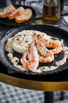French Riviera Style Camarones Shrimps.with white rice Basmati