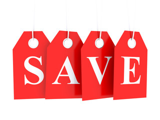 Save word text on red glossy hanging etiquette - save money, buy cheap Wall mural