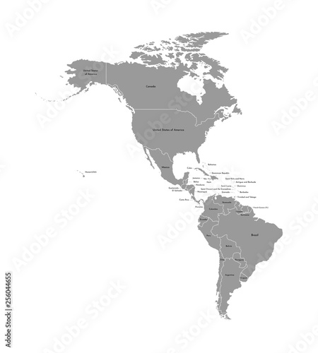 Vector illustration with map of North and South America ...