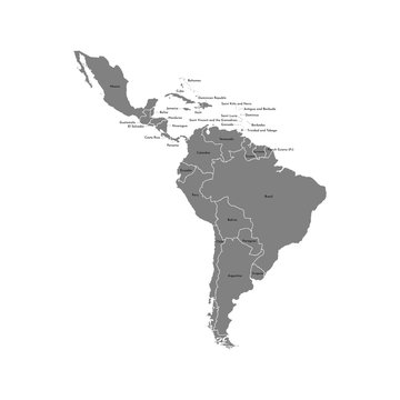Vector illustration with map of South America continent and part of Central America. Grey silhouettes, white grey background. Text with names of independent states
