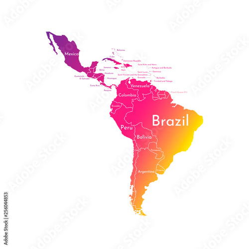 Vector illustration with map of South America continent and ...