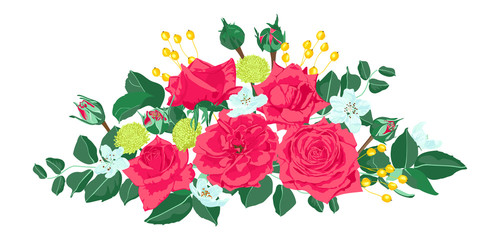 Wedding Card Invite Design, Vector Roses.