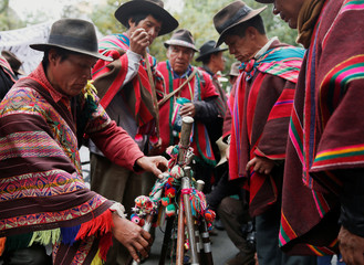 Leaders of Qhara Qhara community, a Quechua ethnic group, put their symbols of authority during a protest against the occupation of their homeland by other social organizations, in La Paz