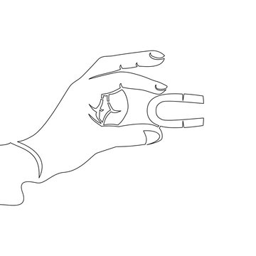 Continuous one line Hand holding magnet concept