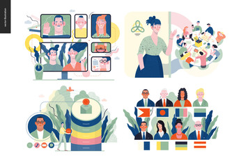 Technology 1 set - modern flat vector concept digital illustration- Video Conferencing Technology, Meet our team, CRM Customer Relationship Management, Political leaders meeting. Creative web template