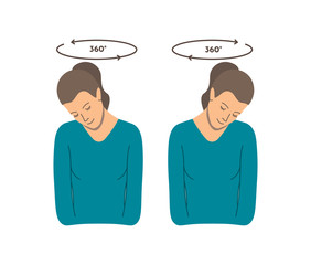 Vector colorful illustration. Neck exercises by girl for relax. Head rotation in different directions. Creative concept. Blue and grey colors. White background