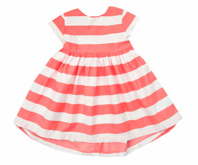 Cotton striped summer girl's dress isolated.