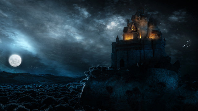 Majestic Castle Landscape With Glowing Clouds In Full Moon Night
