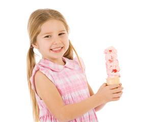 Ice Cream: Girl Holds Triple Scoop Ice Cream Cone