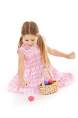 Easter: Little Girl Finding Easter Eggs