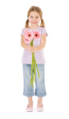 Spring: Smiling Girl Holding Bunch Of Daisies