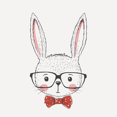 Cute little rabbit face with glasses, bow tie