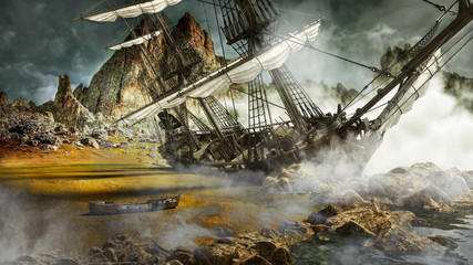 Beached pirate ship in a mystical scenic land. 3d rendering